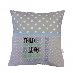 Grey Star Blue Reading Cushion