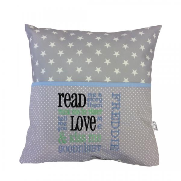 Grey Star Blue Reading Cushion