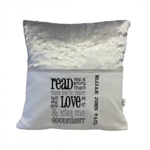 Silver Crushed Velvet Reading Cushion