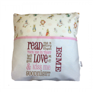 Reading Cushion made with Peter Rabbit fabric