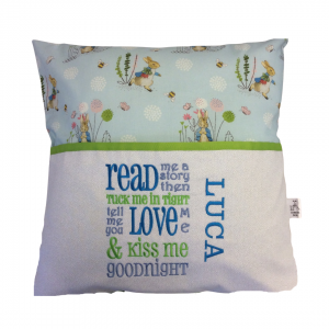 Reading Cushion made with Blue Peter Rabbit fabric
