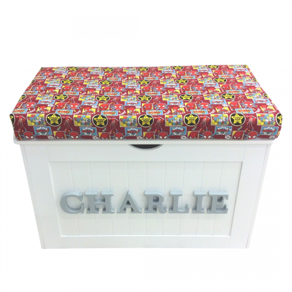 Toy Box made with Spiderman fabric
